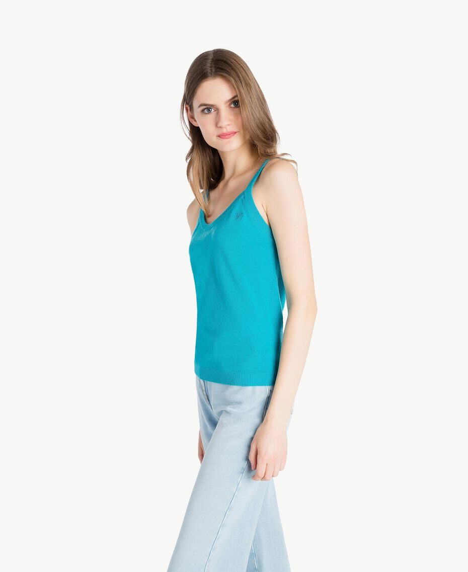 Cashmere tank top Turquoise Woman PS83EK-02