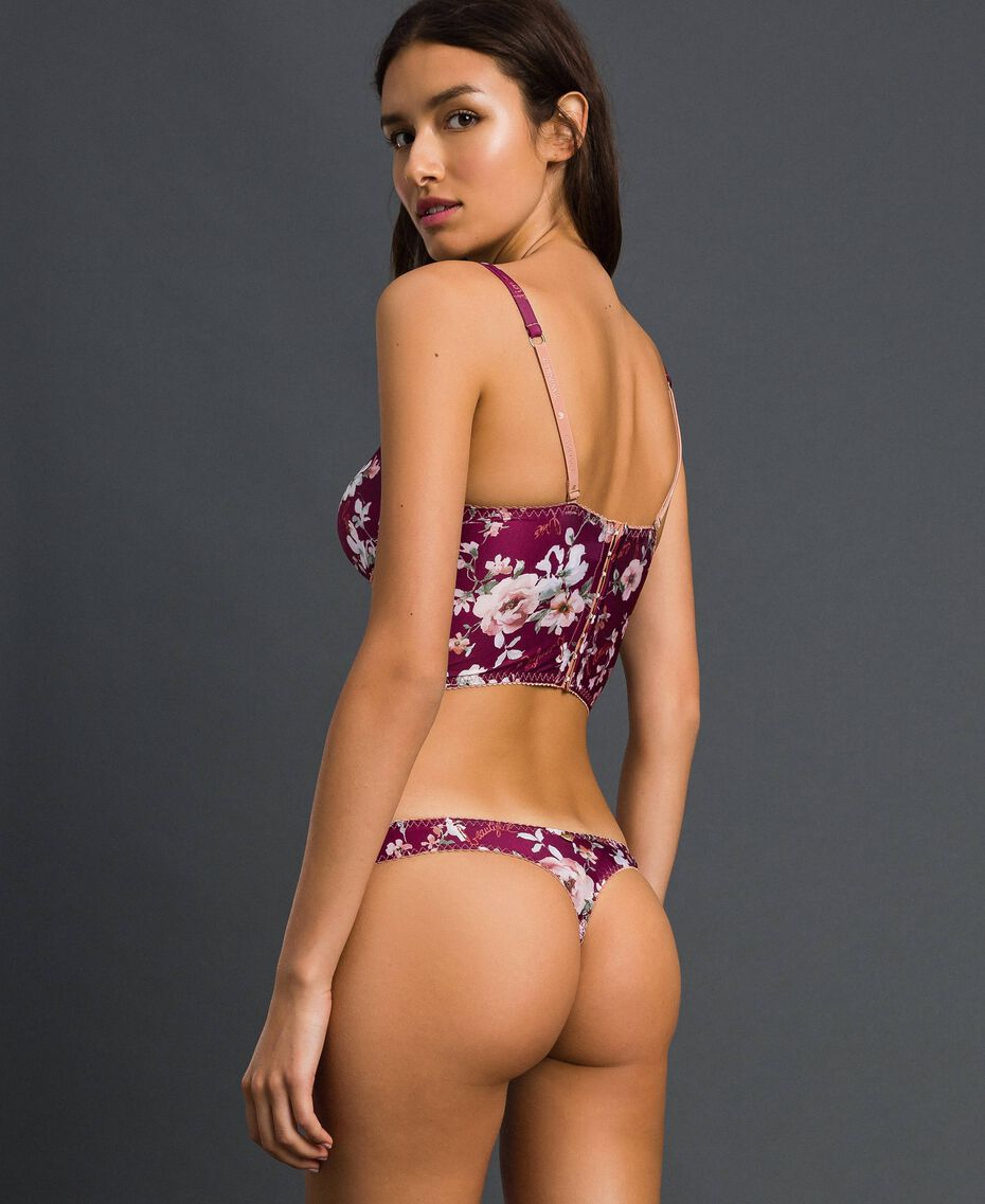 Floral G-string with lace Purple Red Floral Print Woman 192LI6588-03