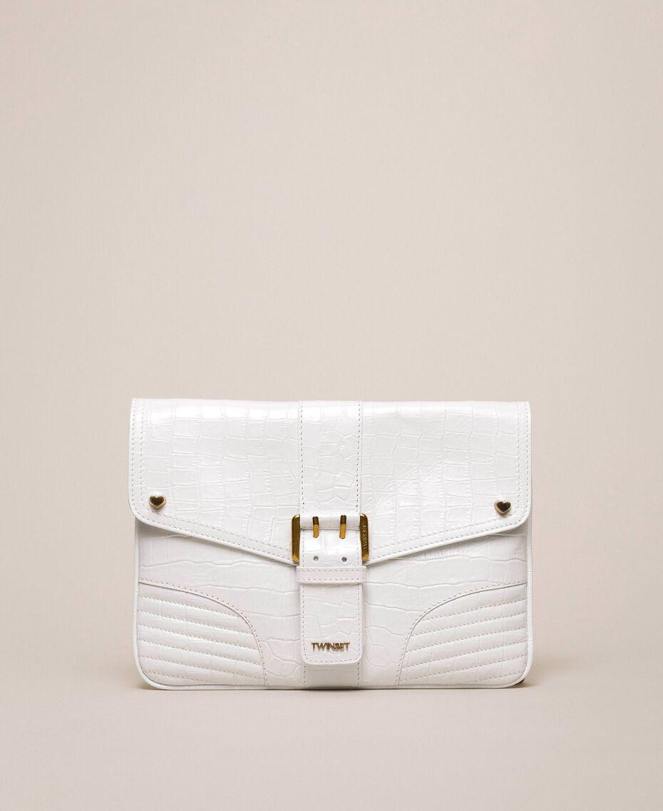 """Croc print leather Rebel pochette """"Snow"""" White Crocodile Print Woman 201TA7112-02"""