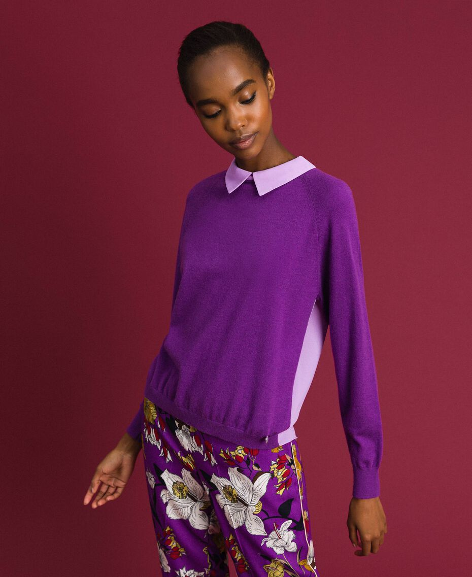 Pull en mélange de laine et crêpe georgette Violet / Rose «Glycine» Femme 192ST3060-02
