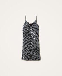 Vestido lencero con lentejuelas animal print Gris Cañón de fusil Mujer 202TP3150-0S