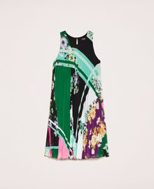 Pleated georgette printed dress Black Scarf Print Woman 201MP2364-0S
