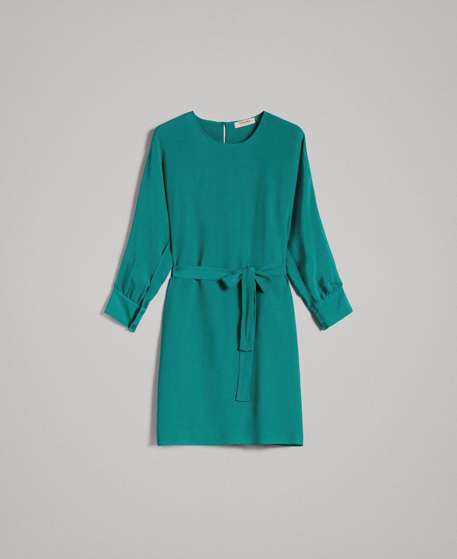 "Silk blend tunic dress ""Pepper Green"" Woman 191TP2147-0S"