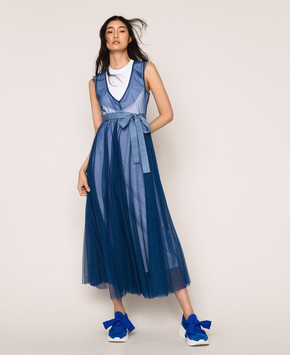 """Full-length tulle gown with ruffle """"Hyacinth"""" Blue Woman 201MT2390-02"""