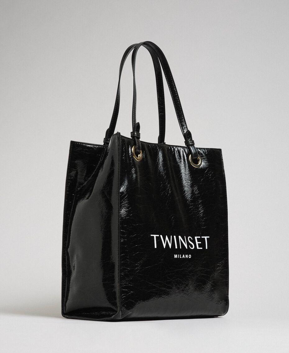 Сумка-шоппер из блестящей искусственной кожи с логотипом Черный женщина 192TA7170-01