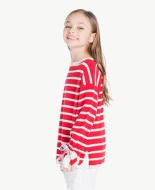 Maxi pull rayures Rayure Rouge Grenadier / Chantilly / Imprimé Fleurs Enfant GS83BA-03
