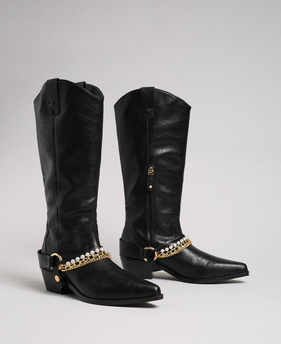 Texas boots with straps, chain and pearls Black Woman 192MCP014-01