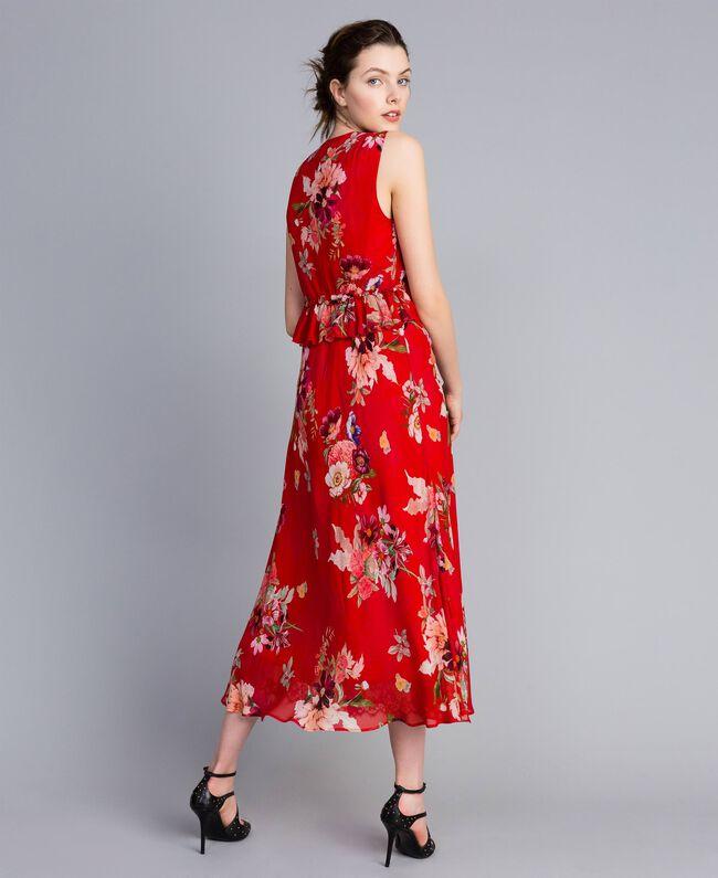 Robe longue en crêpe georgette floral Imprimé Jardin Rouge Femme PA8272-03