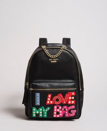 Faux leather backpack with patch and studs Black Woman 191MA7073-01