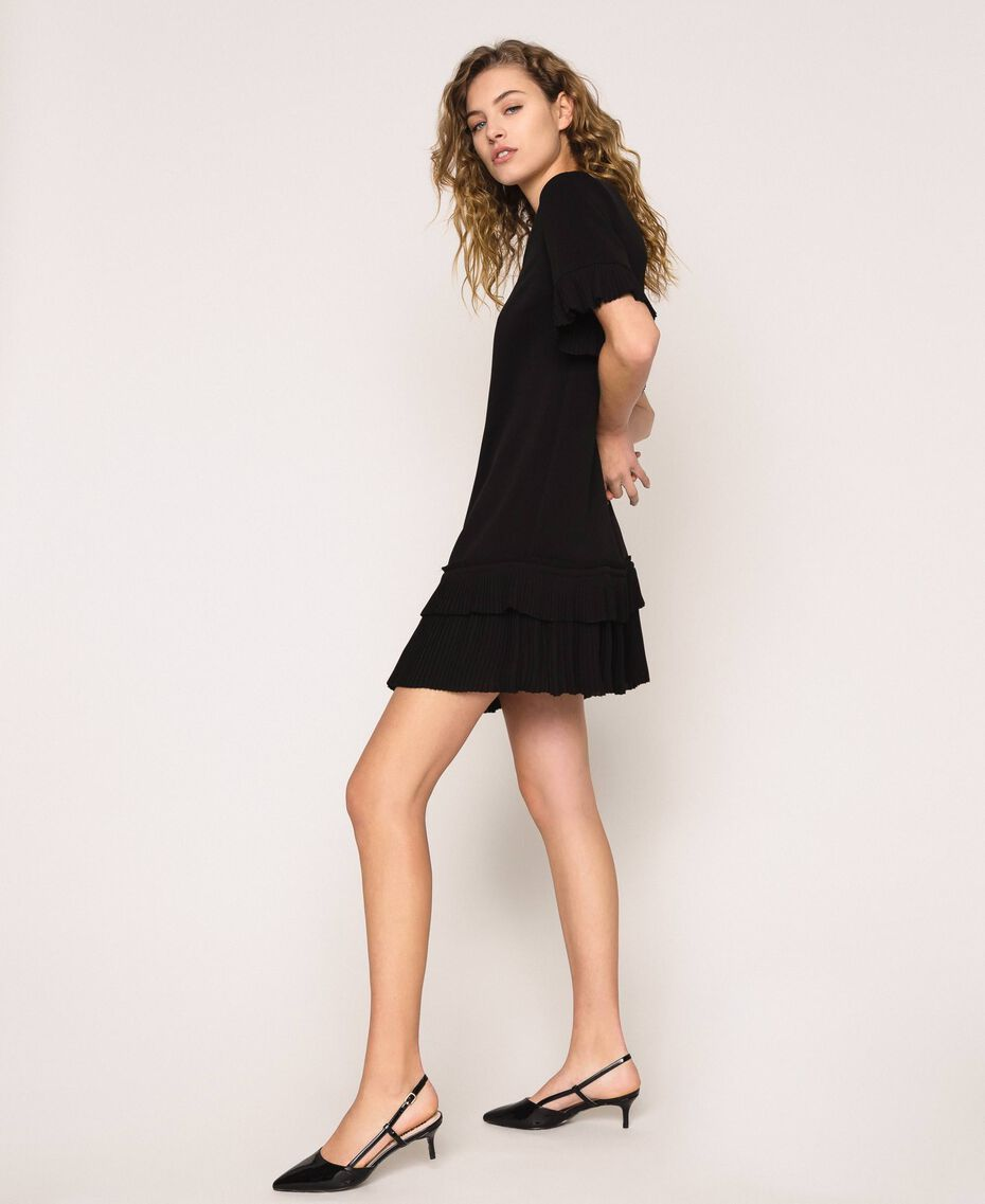 Georgette dress with pleats Black Woman 201TP2026-01