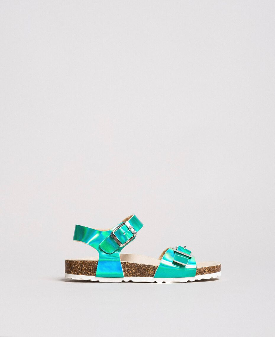 """Laminated leather sandals Blue Clear """"Water"""" Child 191GCJ162-01"""
