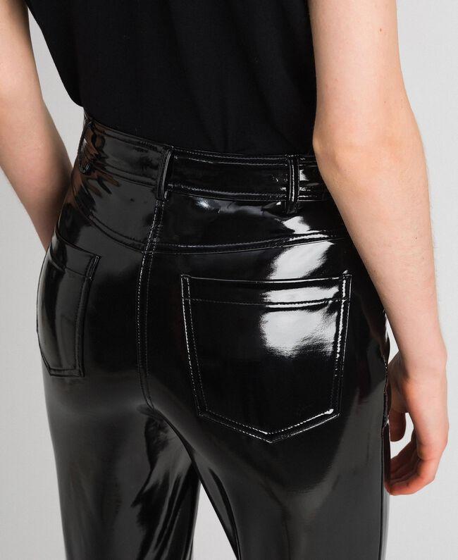 Patent leather effect faux leather leggings Black Woman 192MT2090-03