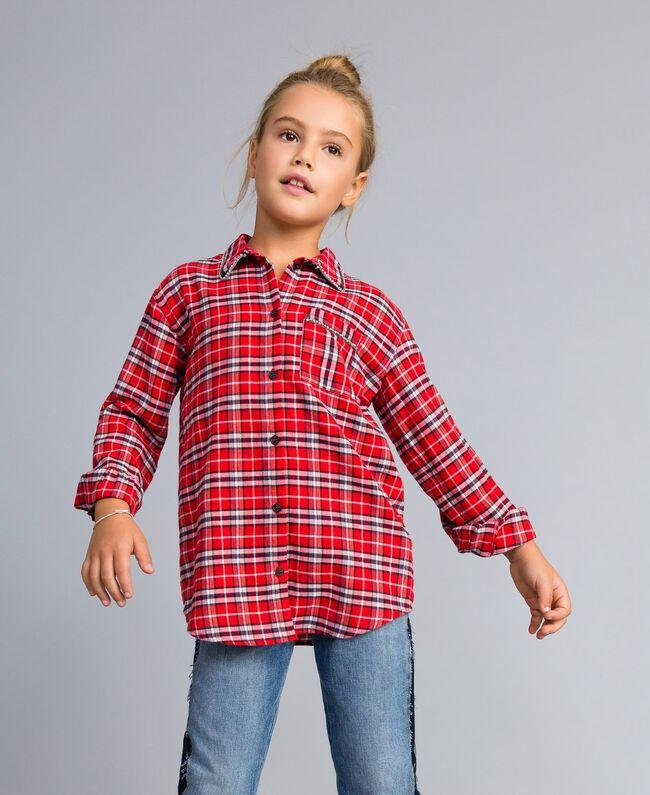"""Длинная рубашка в жаккардовую клетку Красный Жаккард """"Клетка Мак"""" Pебенок GA824N-03"""