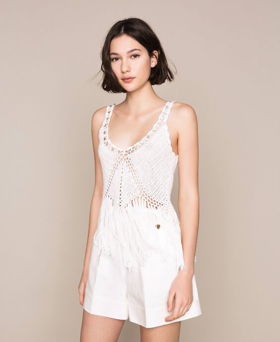 Embroidered crochet top with fringes