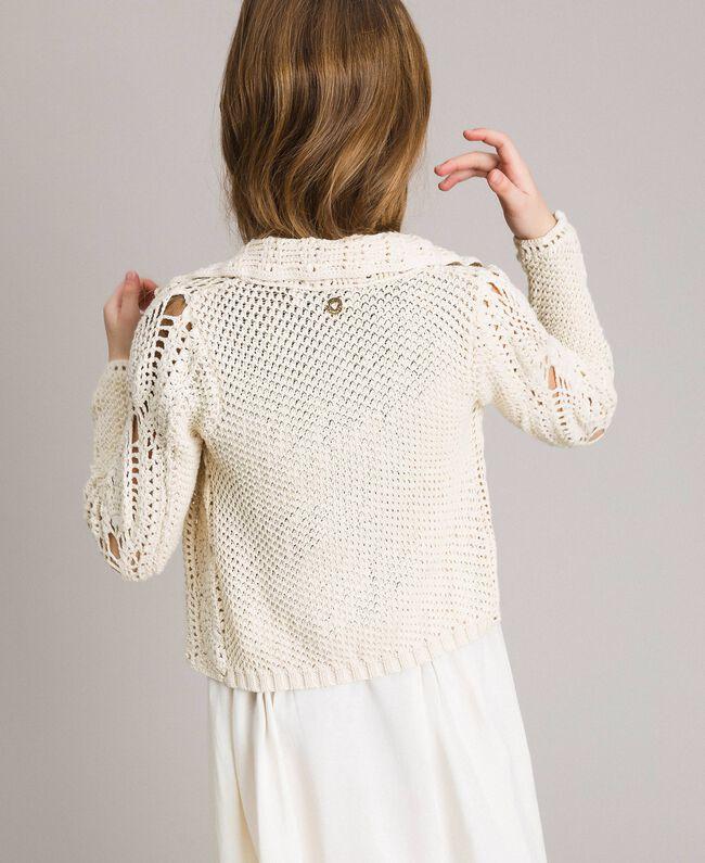Crochet knitted biker jacket Pale Cream Child 191GJ3QK0-03