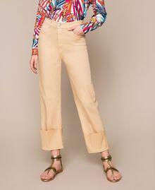 Pantalon cropped avec revers Beige Chocolat au lait Femme 201MT2362-03