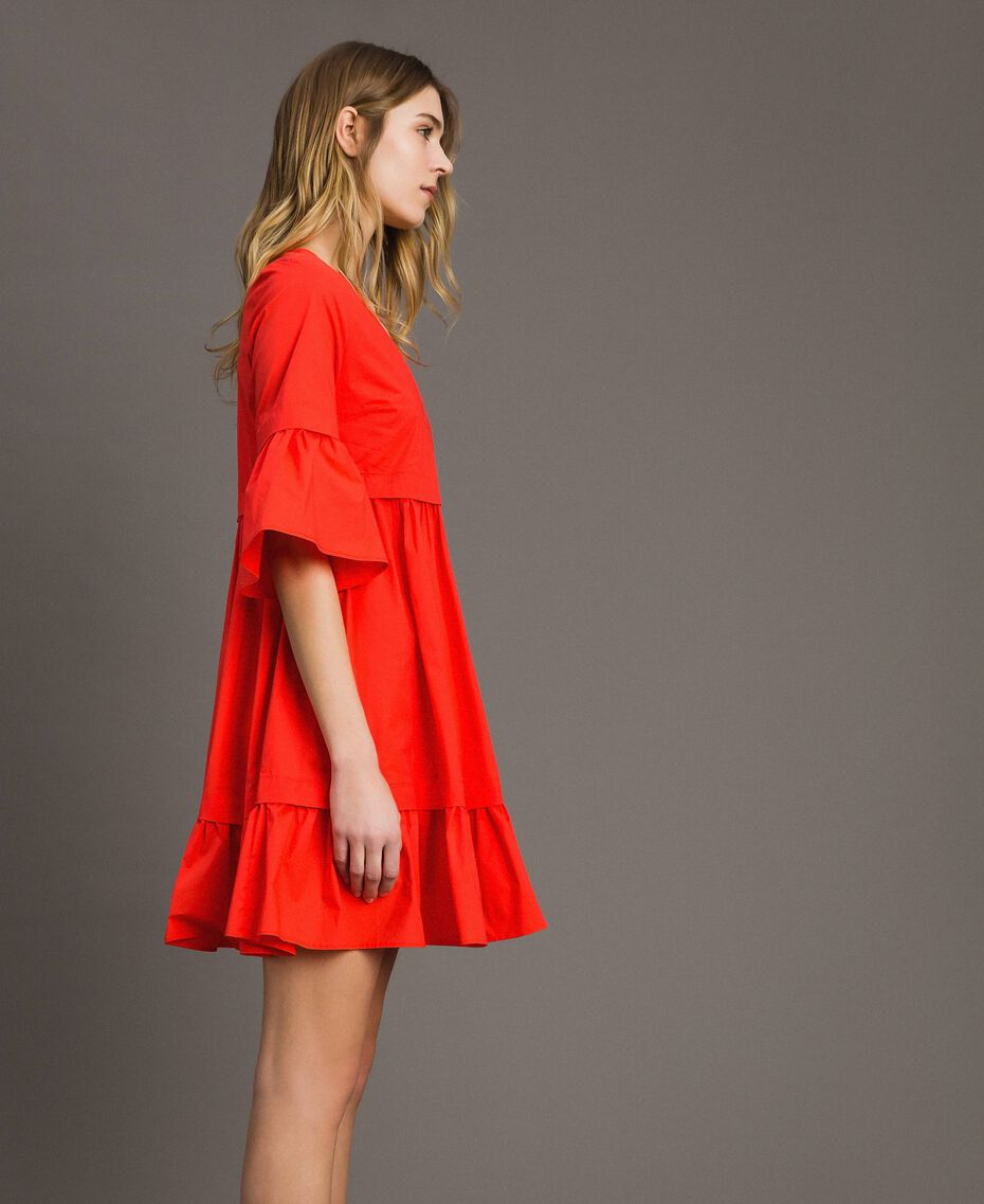 Popeline-Kleid Rote Grenadine Frau 191TT2235-02