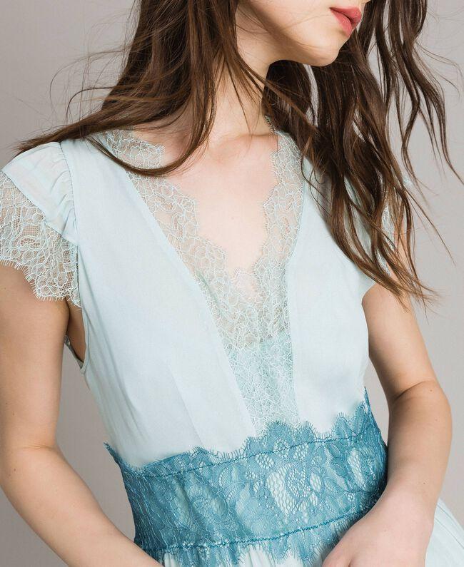 """Robe en georgette et dentelle Bicolore Bleu Clair Mikonos / Bleu Clair """"Aigue Marine"""" Femme 191TP2772-04"""