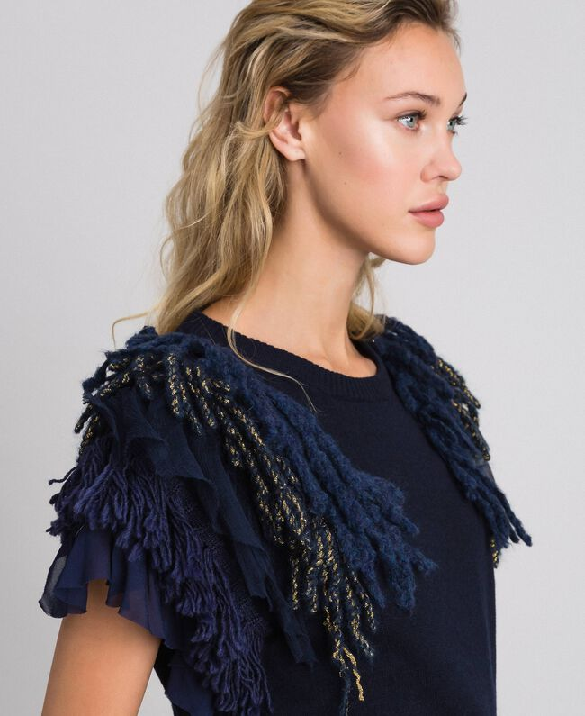 Cashmere blend jumper with fringes Midnight Blue Woman 192TT3300-04