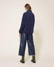 Satin and scuba bomber jacket Blackout Blue Woman 202LI2JQQ-04