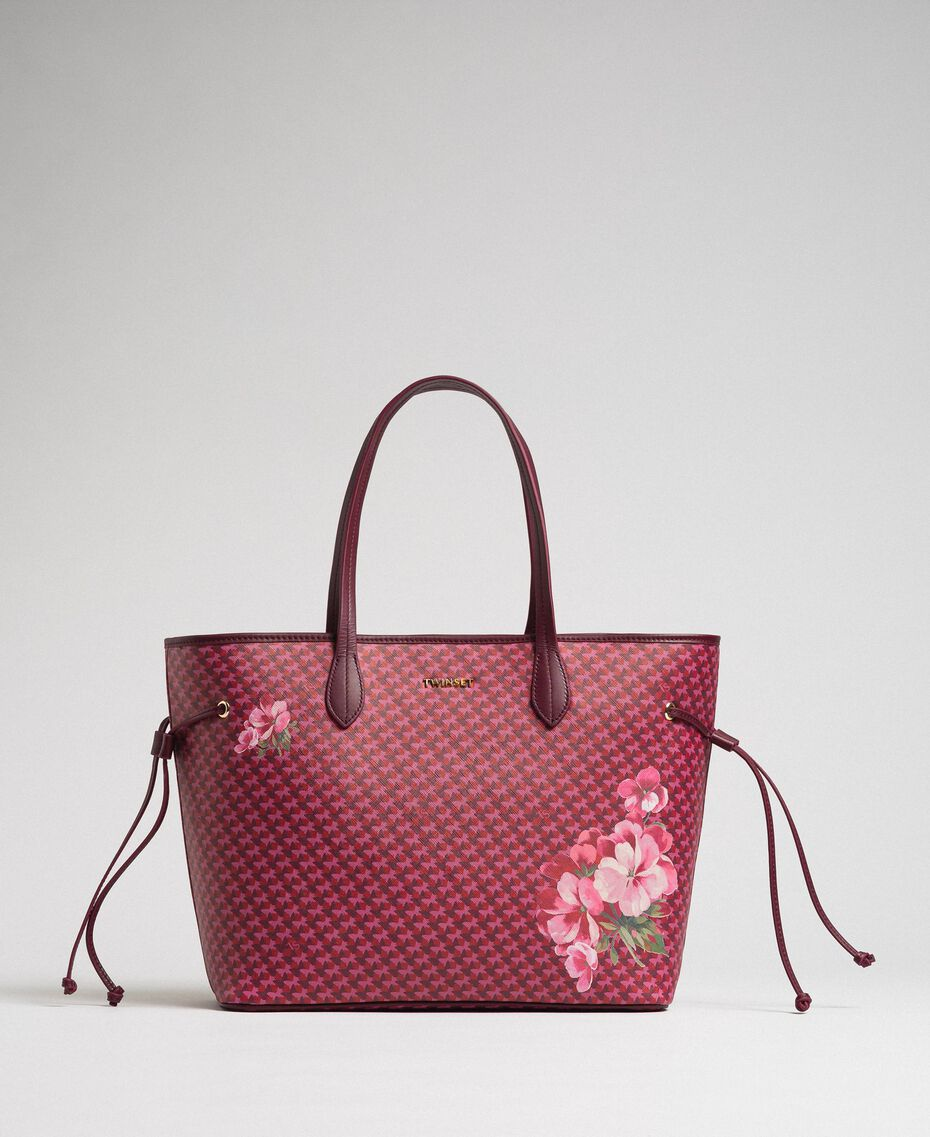 Printed shopper with clutch Beet Red Butterfly Floral Print Woman 192TA7017-03