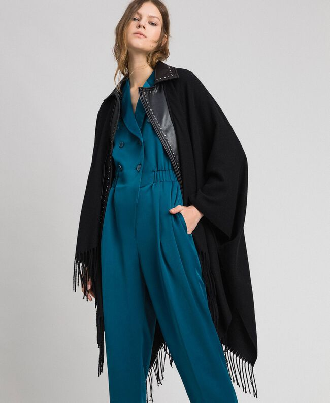 Fringed cape with double garment effect Black Woman 192MP2110-01