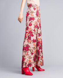Pantalon palazzo avec imprimé floral Imprimé Floral Rose Nude Femme SA82E3-01