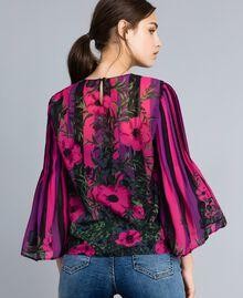 "Bluse aus Chiffon mit Blumenprint Print ""Flower&Stripes"" Frau TA829N-03"