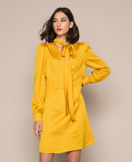 Jacquard dress with crocodile print