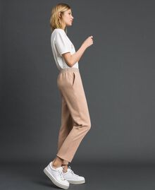 Cigarette trousers with lurex stripes Beige Nude Woman 192LI2GCC-02