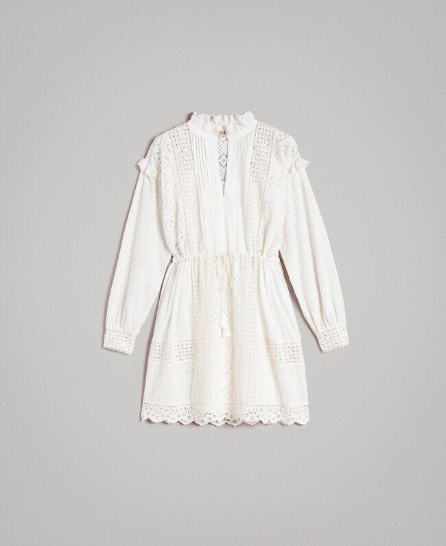 Kleid mit Lochstickerei und Volant Weiß Schnee Frau 191TT2044-0S