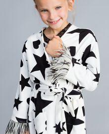 Vestaglia in felpa stampata Stampa Stelle Nero / Off White Bambina GA828B-04