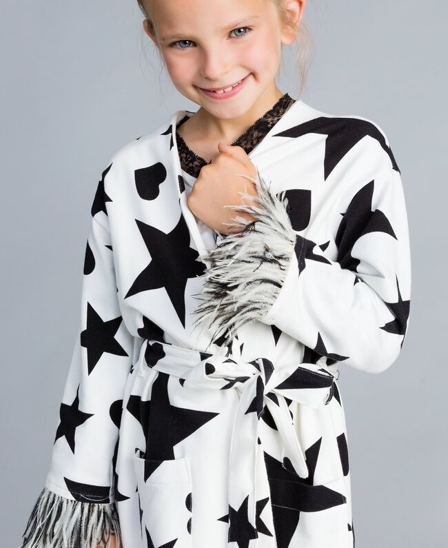 Fleece dressing gown with print Black / Off White Star Print Child GA828B-04
