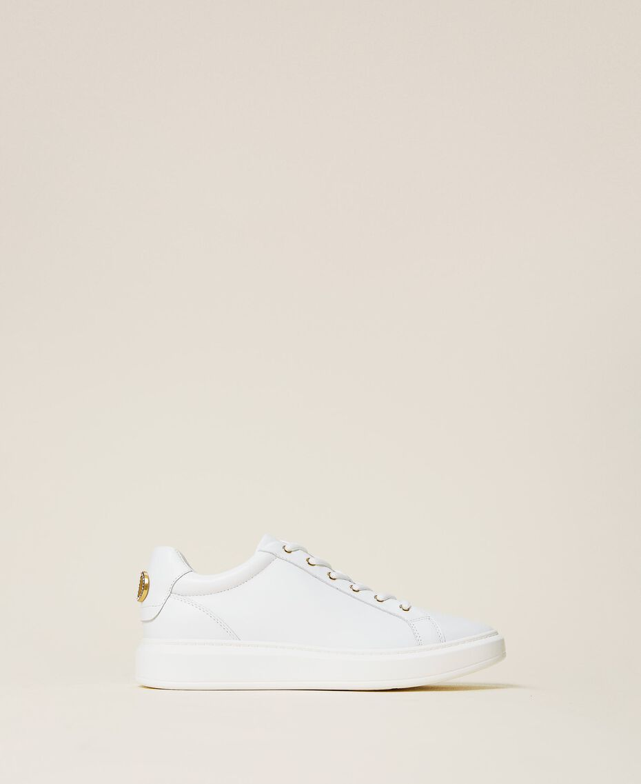 Leather trainers with rhinestone logo White Woman 212TCP140-01