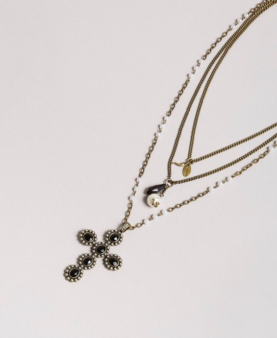 Multi-string rosary necklace with pendants and cross