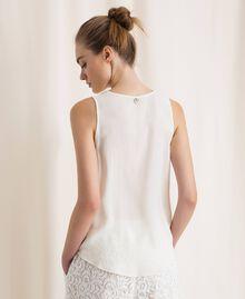 Топ из смесового шелка с воланами Белый Снег женщина 201TP2507-03