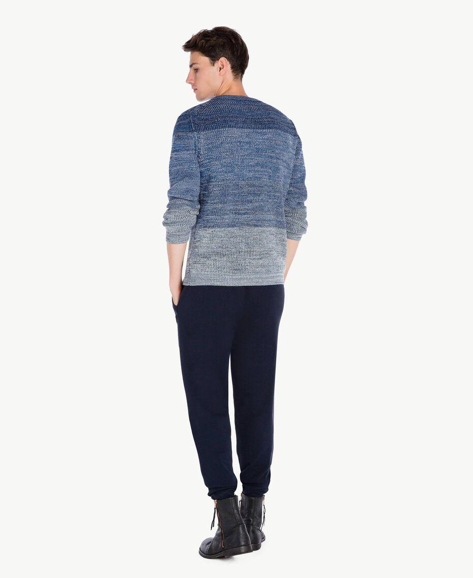 Pullover aus Wolle Dégradé-Blau UA73B1-03