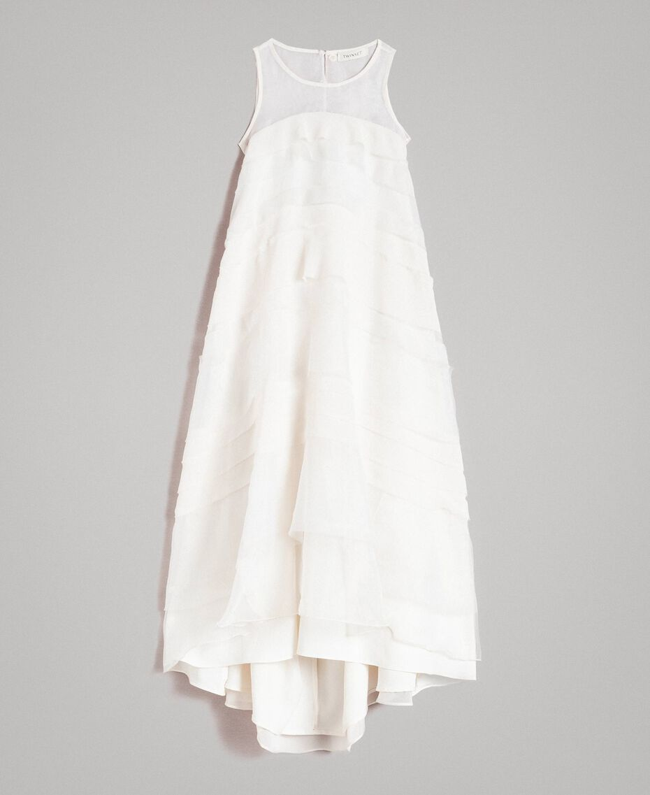 Georgette and organza long dress Pale Cream Child 191GJ2QD0-01
