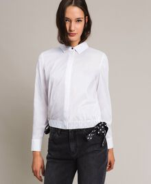 Popeline-Hemd mit Kordelzug White Sahne Frau 191MP2190-02
