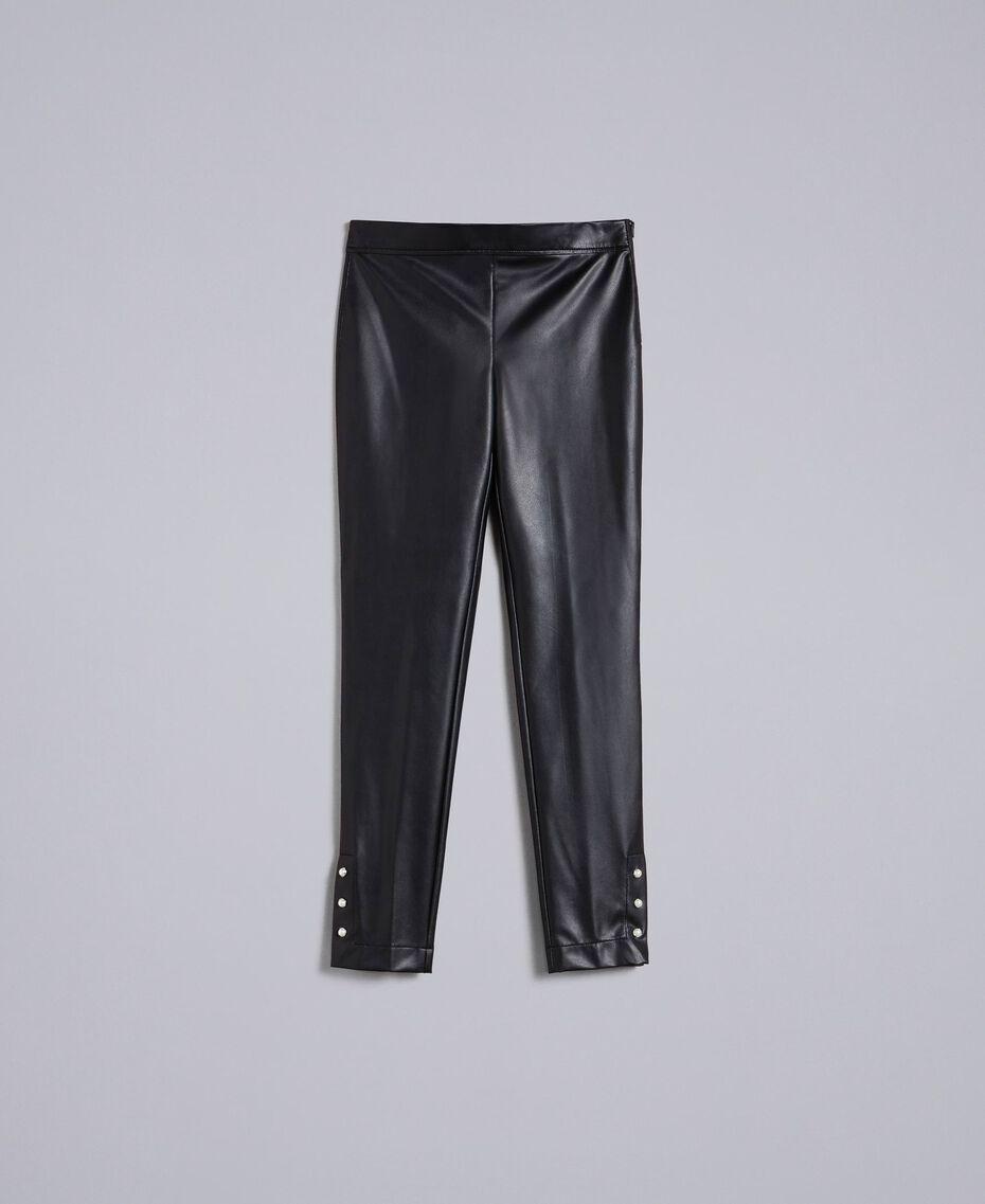 Leggings aus Lederimitat mit Perlen Schwarz Frau PA82AB-0S