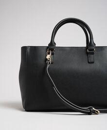 Zweifarbiger Shopper aus Lederimitat Schwarz Frau 192MA7100-03