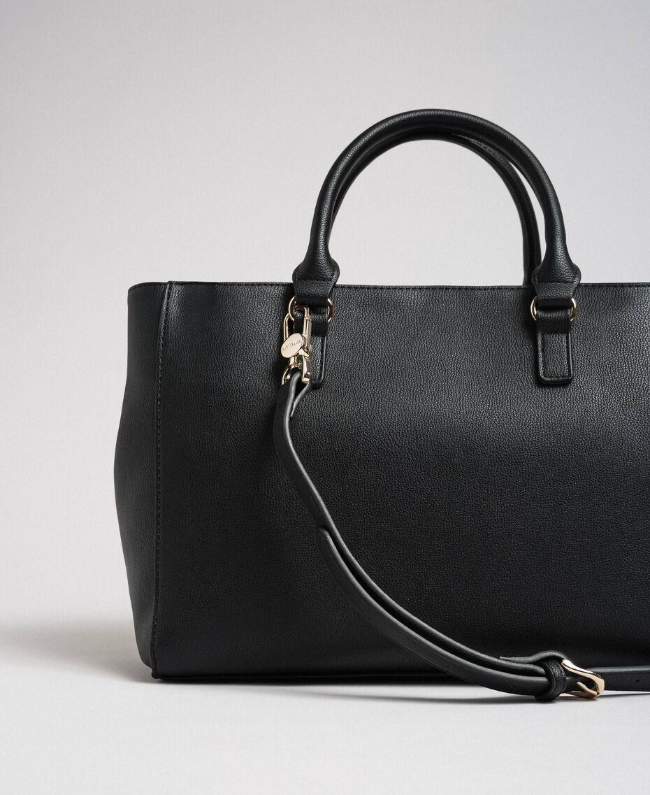 Two-tone faux leather shopper Black Woman 192MA7100-03