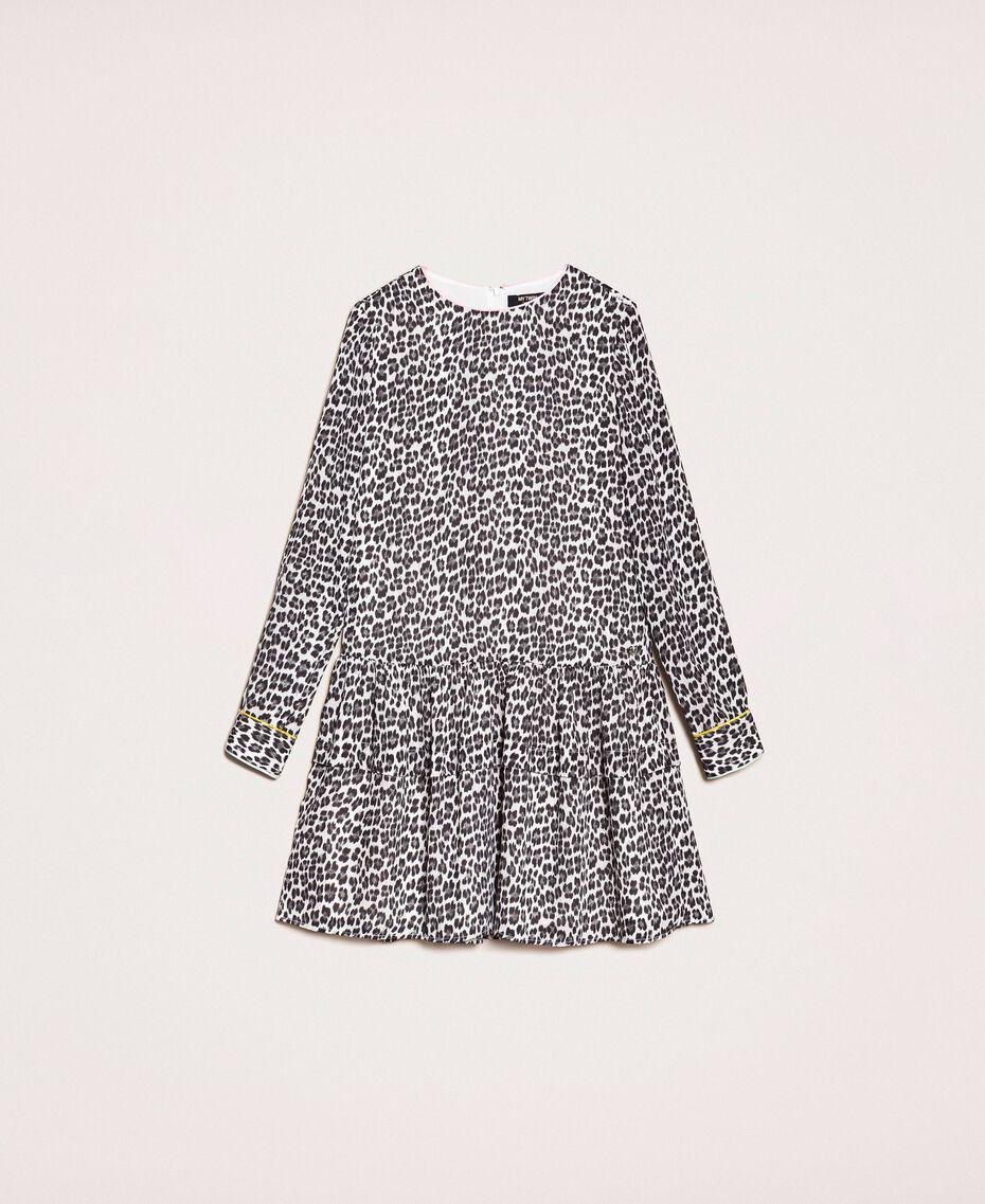 Платье из жоржета с животным принтом Принт Животный Лилия / Черный женщина 201MP2440-0S