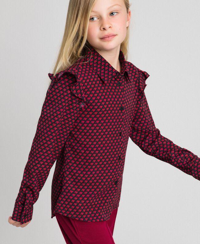 Camicia in crêpe stampata a cuori Stampa Cuoricini Bambina 192GJ2531-03