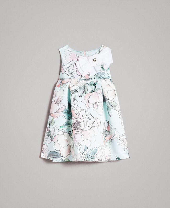 "Floral duchesse dress ""Water"" Light Blue Floral Print Child 191GB2QN0-01"