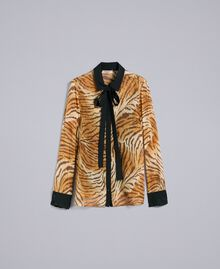 "Hemd aus Seidenchiffon mit Print Print ""Tiger"" Frau TA8252-0S"