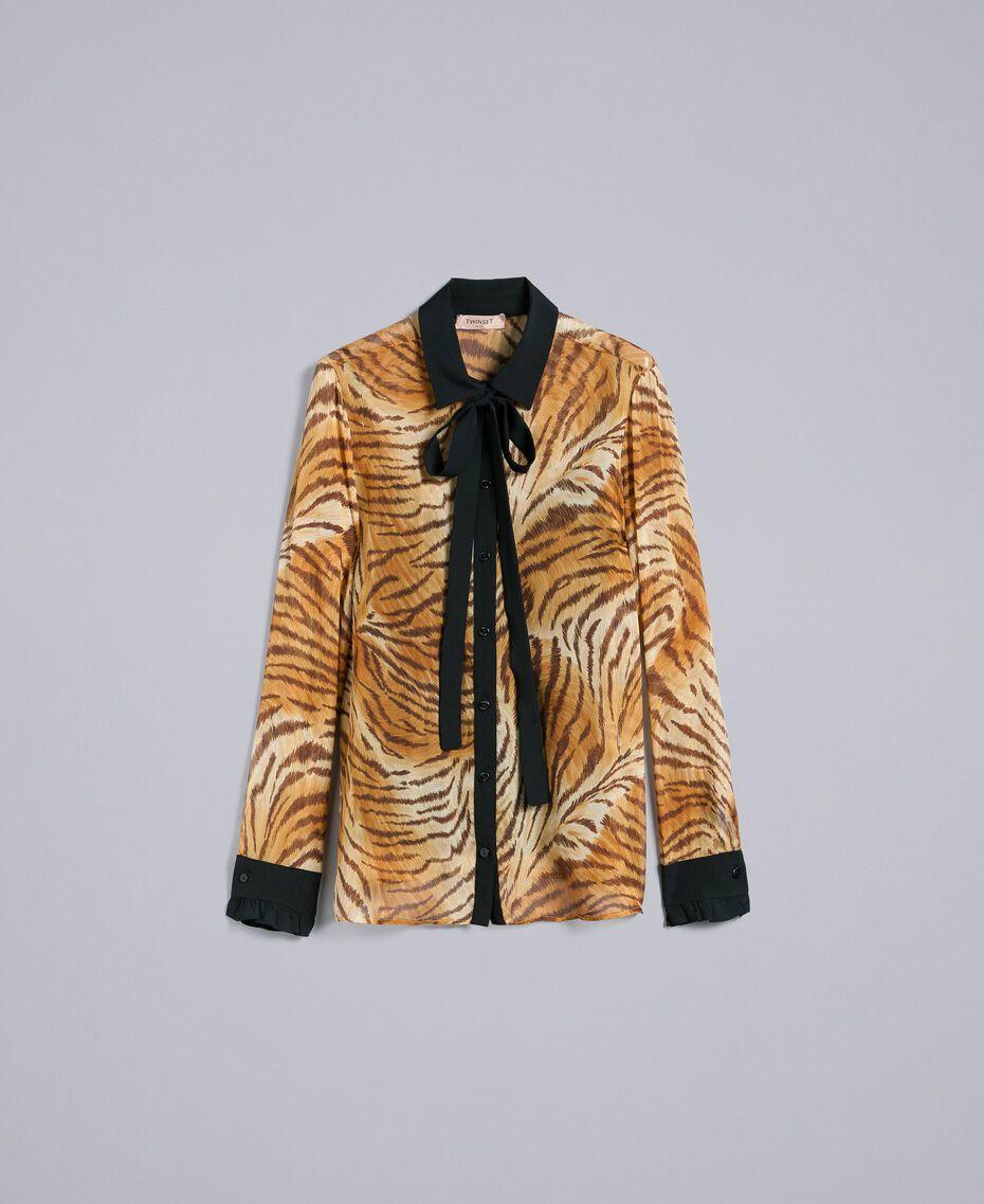 Camisa de gasa de seda estampada Estampado Tigre Mujer TA8252-0S