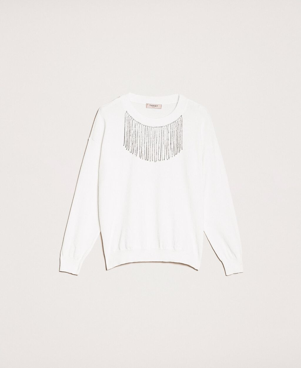 Jumper with rhinestone fringes