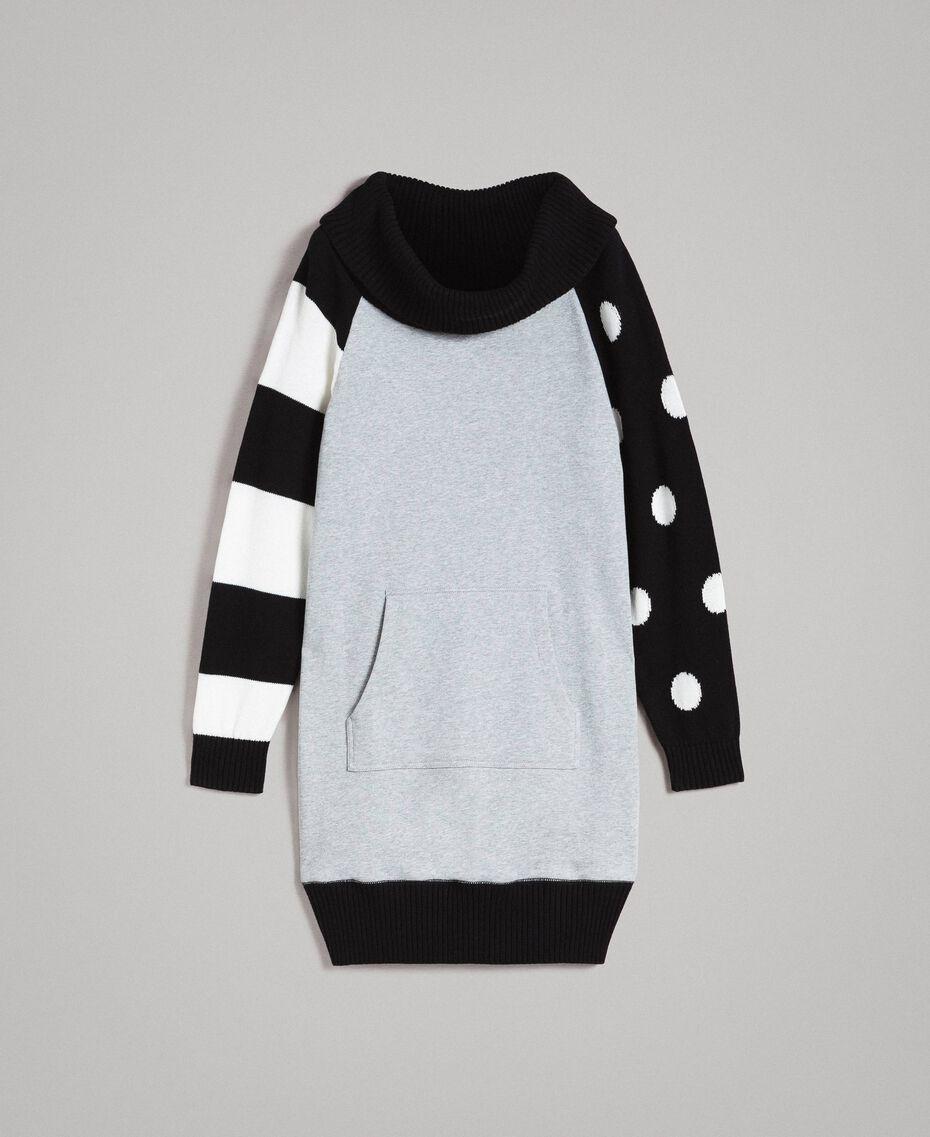 Sweatkleid mit Tupfen und Streifen Multicolour Hell Melange Grau / Schwarz / Weiß Frau 191MP3121-0S
