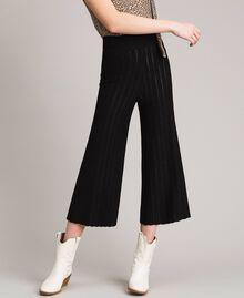 Pantalon cropped en maille orné de bandes en lurex Noir Femme 191TP3251-01